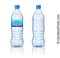 illustrazione, bottiglia, realistico, vettore, plastica, minerale, sfondo bianco, acqua, isolato