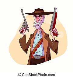 illustrazione, cacciatore, vettore, generosità, cartone animato