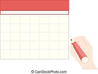 illustrazione, calendario, mano, vuoto