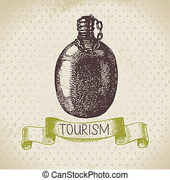 illustrazione, campeggio, schizzo, vendemmia, fondo., escursione, mano, disegnato, turismo