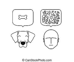illustrazione, cane, contro, umano