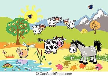 illustrazione, cartone animato, animali fattoria