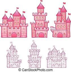illustrazione, cartone animato, racconto, vettore, castello, fata
