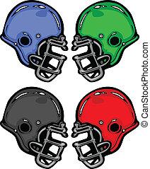 illustrazione, caschi, vettore, cartone animato, football