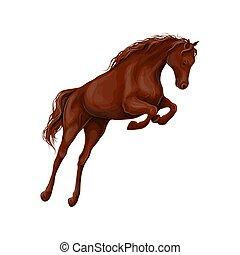 illustrazione, cavallo, vettore, daino, leva piedi