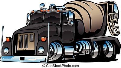 illustrazione, cemento, vettore, camion, miscelatore, cartone animato