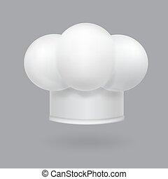 illustrazione, chef, realistico, cappello bianco, icona