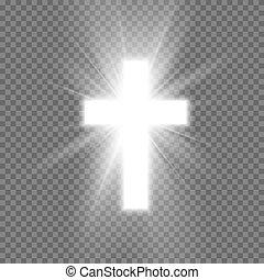 illustrazione, christianity., faith., simbolo, trasparente, isolato, fondo, speranza, splendore, croce, bianco, vettore