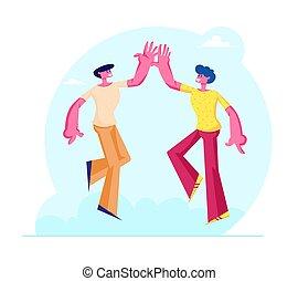 illustrazione, cinque, bonding, collegamento, maschio, amici, alto, amici, coppia, solidarity., relazioni, fra, amicizia, altro, caratteri, prendere, amici, o, simbolo, vettore, appartamento, umano, ciascuno, cartone animato
