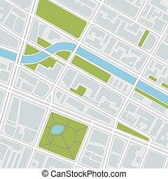 illustrazione, città, vettore, map.