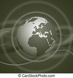 illustrazione, con, globo