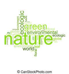 illustrazione, con, termini, come, natur, o, ambiente
