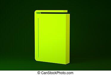 illustrazione, concept., minimalismo, icona, fondo., verde, giallo, libro, 3d, isolato, render