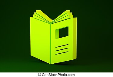 illustrazione, concept., minimalismo, icona, fondo., verde, giallo, libro, 3d, isolato, render, aperto