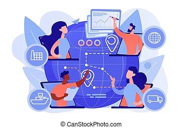illustrazione, concetto, catena, vettore, fornitura, amministrazione