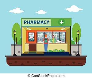 illustrazione, concetto, farmacia