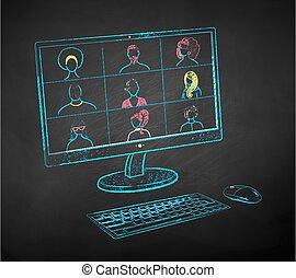 illustrazione, conferenza, vivere, monitor
