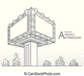 illustrazione, costruzione, 3d, disegno, astratto, tabellone, architettonico