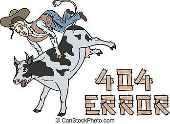 illustrazione, cowboy, sito web, tames, cow., indicare, pagina, failure., umoristico