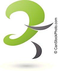 illustrazione, curvy, vettore, verde, lettera, divertimento, z