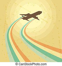 illustrazione, di, aeroplano, volare, in, il, sky.