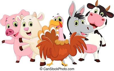 illustrazione, di, animali fattoria, cartone animato