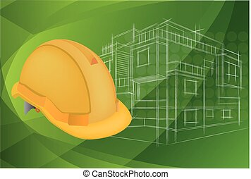 illustrazione, di, architettura, e, protettivo, casco