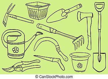 illustrazione, di, attrezzi gardening, -, scarabocchiare,...