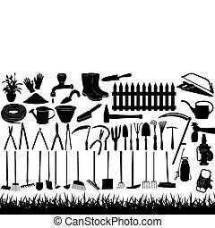illustrazione, di, attrezzi gardening