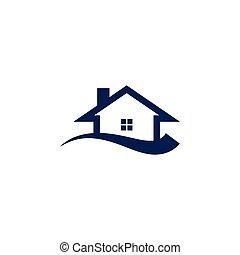 illustrazione, di, casa, e, swoosh, astratto, logotipo, disegno, concetto, sagoma