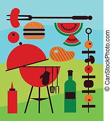 illustrazione, di, cortile posteriore, barbecue, scena