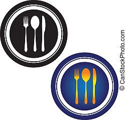 illustrazione, di, cucchiaio, forchetta, coltello, e,...