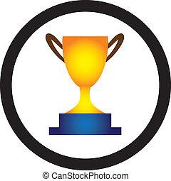 illustrazione, di, dorato, trofeo, tazza, presentato, a,...