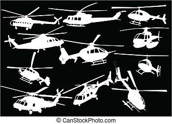 illustrazione, di, elicotteri