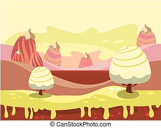 illustrazione, di, fantasia, cibo dolce, terra