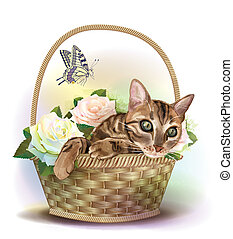 illustrazione, di, il, gatto tabby, seduta, in, uno, cesto, con, roses.