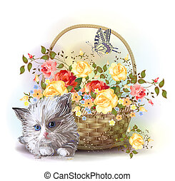 illustrazione, di, il, lanuginoso, gattino, e, cesto, con, rose