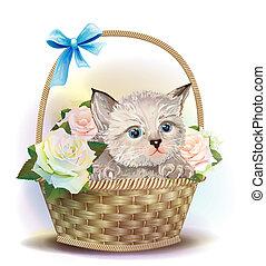 illustrazione, di, il, lanuginoso, gattino, seduta, in, uno, cesto, con, roses.