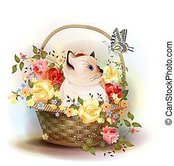 illustrazione, di, il, siamese, gattino, seduta, in, uno, cesto, con, roses.