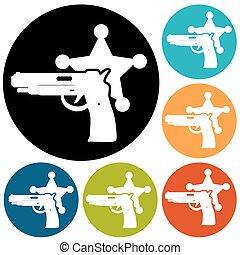 illustrazione, di, isolato, moderno, polizia, icona
