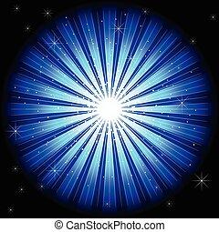 illustrazione, di, luce blu, scoppio