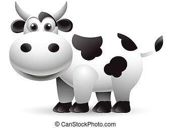 illustrazione, di, mucca, cartone animato