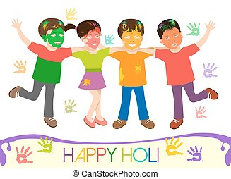 illustrazione, di, sporco, bambini, in, differente, colori, gioco, holi