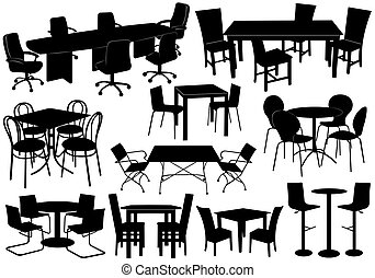 illustrazione, di, tavole sedie