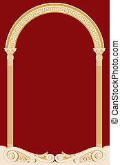 illustrazione, di, un, antico, arco