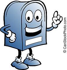 illustrazione, di, un, blu, cassetta postale