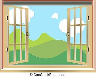 illustrazione, di, un, finestra aperta, natura, vista, cartone animato