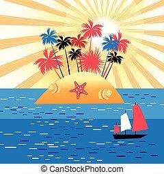 illustrazione, di, un, isola, paradiso