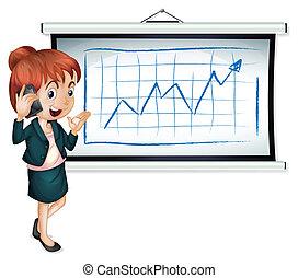 illustrazione, di, uno, donna d'affari, usando, uno, cellphone, davanti, il, scheda di bollettino, su, uno, sfondo bianco
