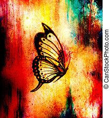 illustrazione, di, uno, farfalla, mescolato, mezzo, astratto, colorare, fondo.